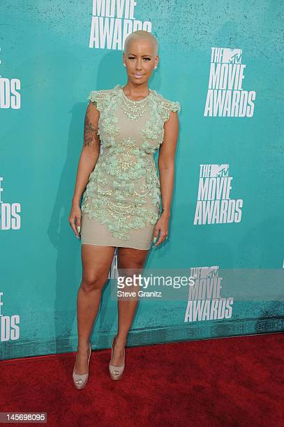 Model Amber Rose arrives at the 2012 MTV Movie Awards at Gibson Amphitheatre on June 3 2012 in Universal City California