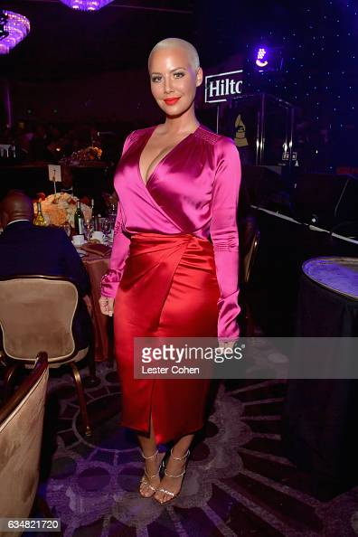 Model Amber Rose attends PreGRAMMY Gala and Salute to Industry Icons Honoring Debra Lee at The Beverly Hilton on February 11 2017 in Los Angeles...