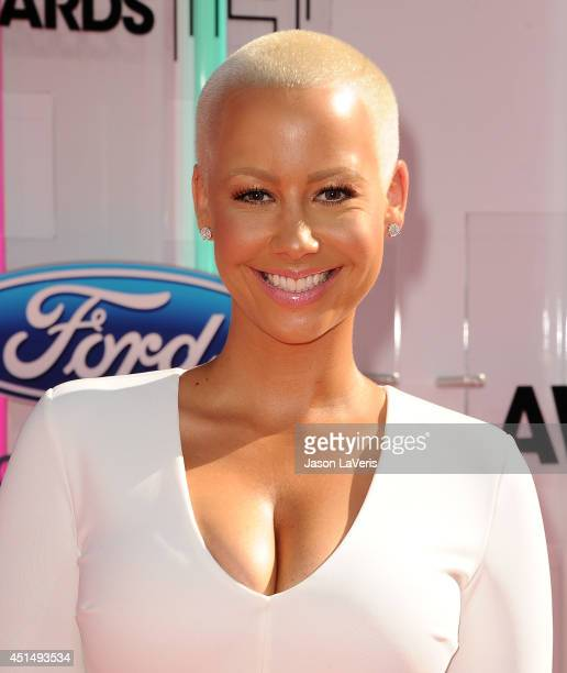 Model Amber Rose attends the 2014 BET Awards at Nokia Plaza LA LIVE on June 29 2014 in Los Angeles California