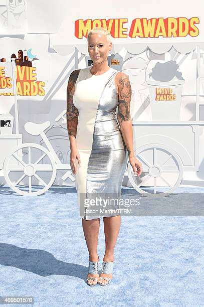 Model Amber Rose attends The 2015 MTV Movie Awards at Nokia Theatre LA Live on April 12 2015 in Los Angeles California