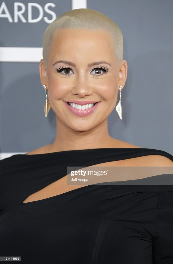 Model Amber Rose attends the 55th Annual GRAMMY Awards at STAPLES Center on February 10, 2013 in Los Angeles, California.