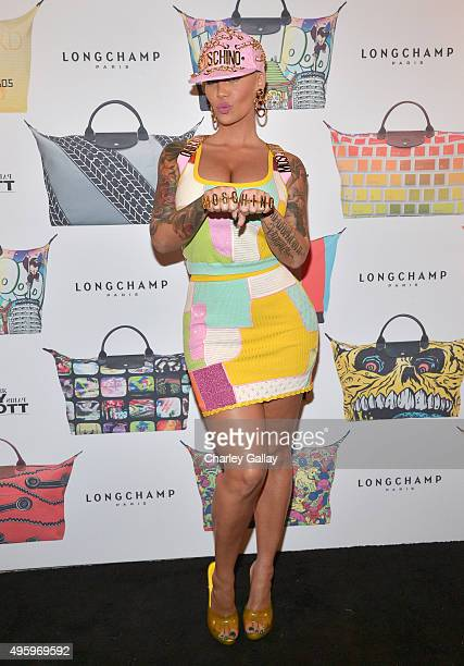 Model Amber Rose attends the Jeremy Scott for Longchamp 10th Anniversary held at a Private Residence on November 5 2015 in Beverly Hills California