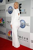 Model Amber Rose attends the NBCUniversal 2015 Golden Globe Awards Party sponsored by Chrysler at The Beverly Hilton Hotel on January 11 2015 in...