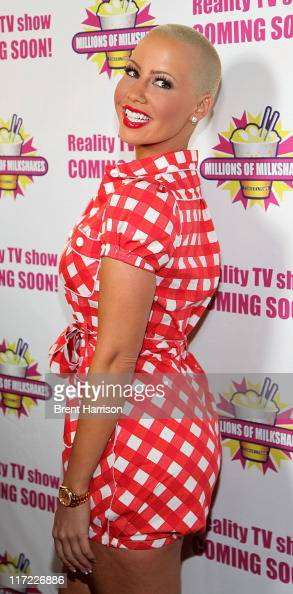 Model Amber Rose launches her signature milkshake 'The Amber Rose Blondie' at Millions of Milkshakes on June 23 2011 in West Hollywood California