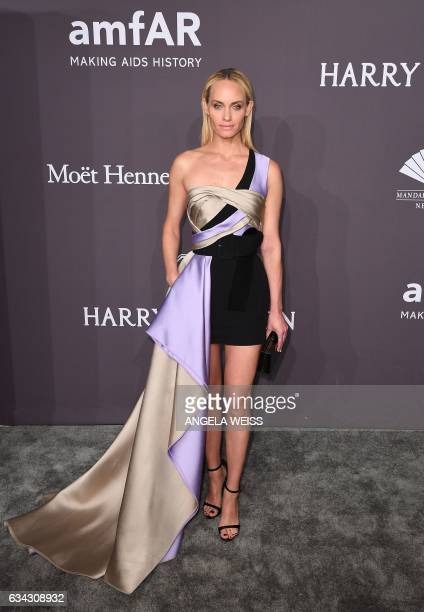 Model Amber Valetta attends the 19th annual amfAR's New York Gala to kick off NY Fashion Week at Cipriani Wall Street on February 8 2017 in New York...