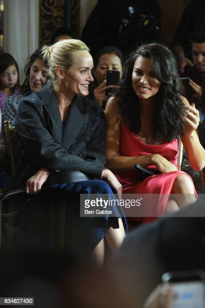 Model Amber Valletta and Adriana Lima attend the Jason Wu collection Front Row during New York Fashion Week at The St Regis on February 10 2017 in...