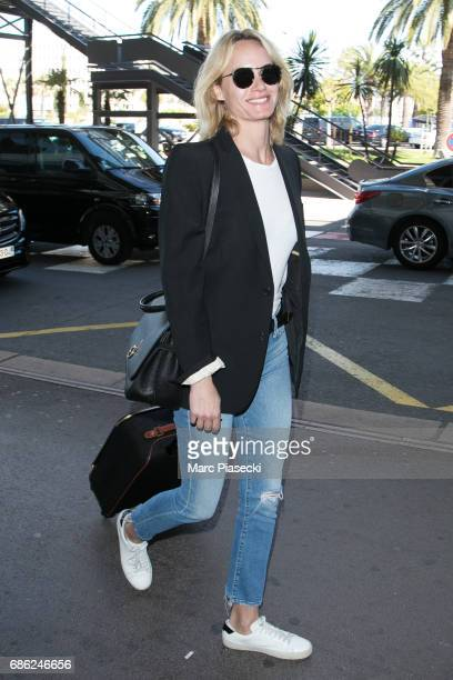 Model Amber Valletta arrives at Nice airport during the 70th annual Cannes Film Festival at on May 21 2017 in Cannes France