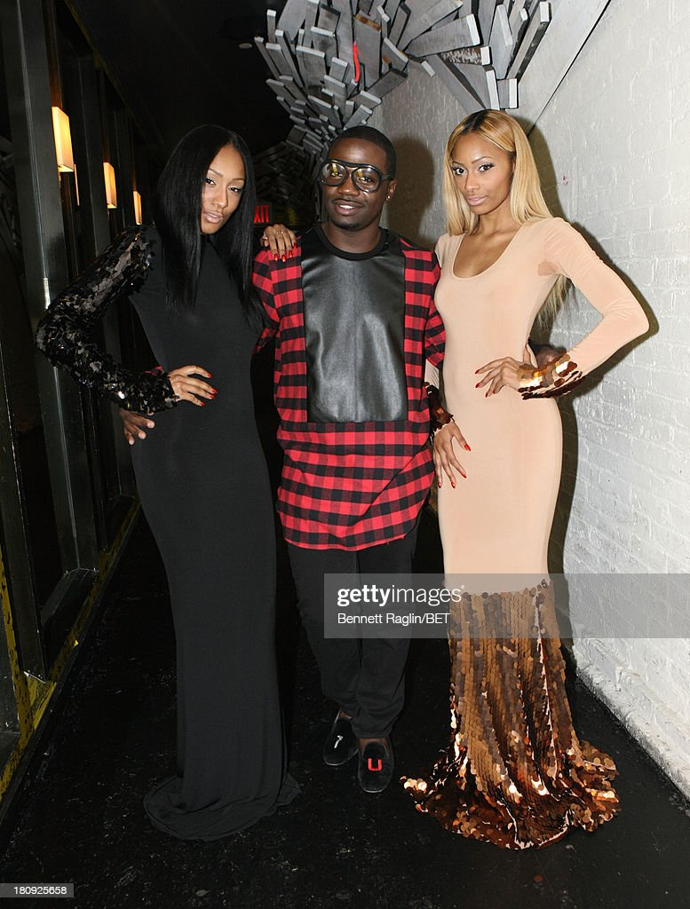 Model Amina Katan, designer Duckie Confetti, and Adina Katan pose for a picture backstage 106 & Park On the Road at Tenjune on September 11, 2013 in New York City.