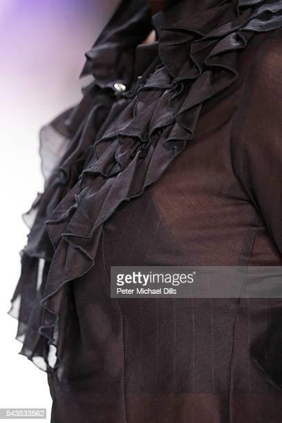 Model Aminata Sanogo fashion detail walks the runway at the Anja Gockel show during the MercedesBenz Fashion Week Berlin Spring/Summer 2017 at Erika...