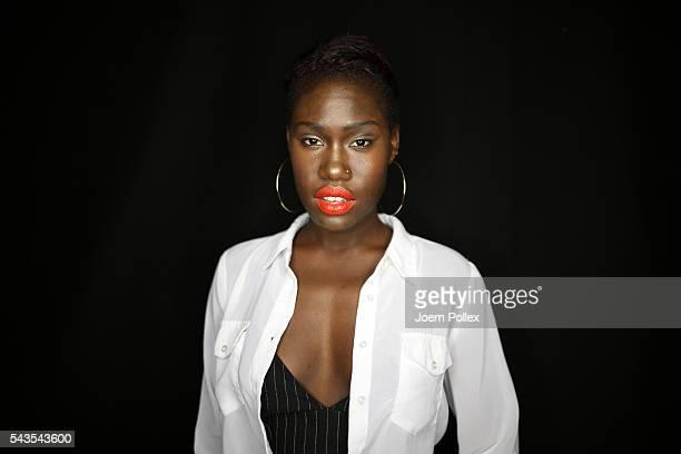 Model Aminata Sanogo is seen backstage ahead of the Anja Gockel show during the MercedesBenz Fashion Week Berlin Spring/Summer 2017 at Erika Hess...