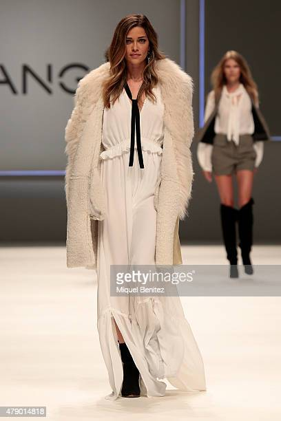 Model Ana Beatriz Barros walks the runway for the Mango fashion show at 'Barcelona 080 Fashion AutumnWinter 20152016' at the Olympic Stadium of...