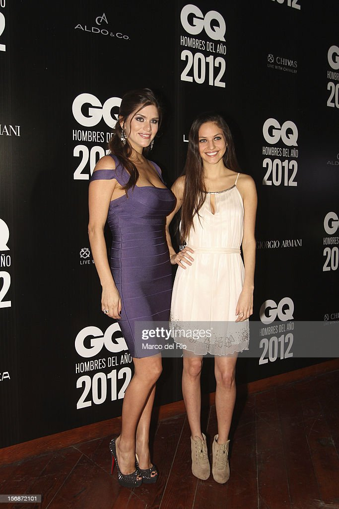 Model Anahi Gonzales Daly and her sister pose during the awards ceremony GQ Men of the Year 2012 at La Huaca Pucllana on November 23, 2012 in Lima, Peru.
