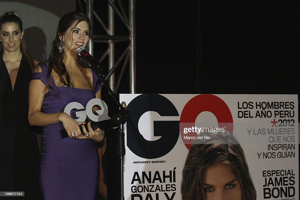 Model Anahi Gonzalez Daly recieves an award during the awards ceremony GQ Men of the Year 2012 at La Huaca Pucllana on November 23, 2012 in Lima, Peru.