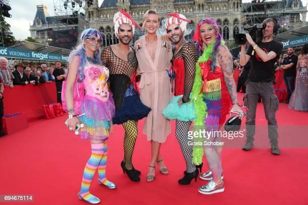 Model Anastassija Makarenko girlfriend of Mickey Rourke during the Life Ball 2017 at City Hall on June 10 2017 in Vienna Austria