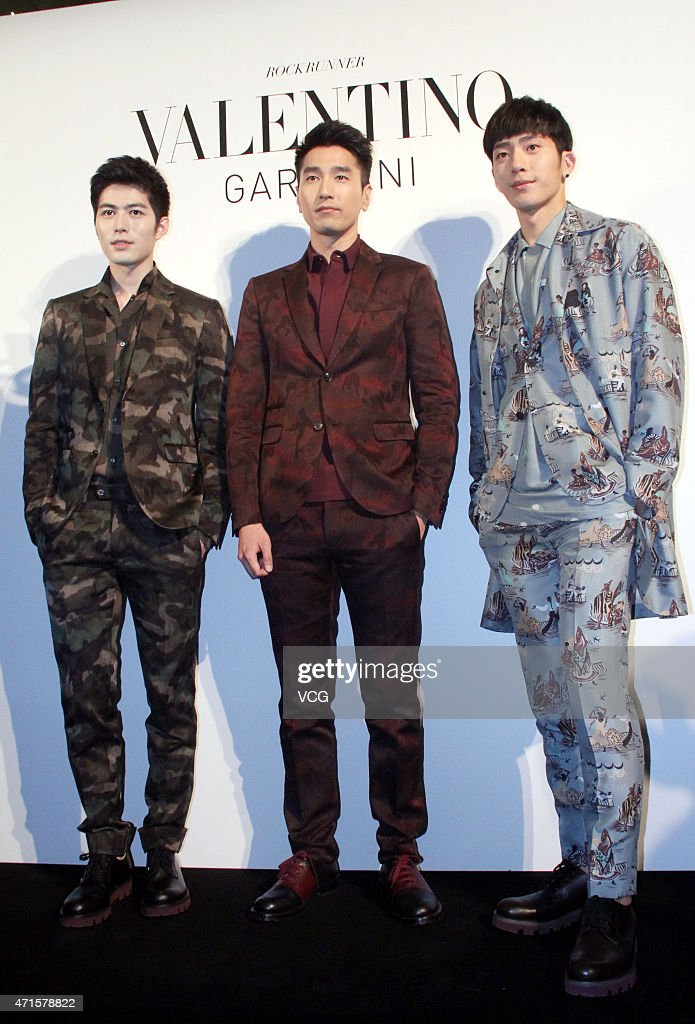 Model and actor Cheney Chen, actor <a gi-track='captionPersonalityLinkClicked' href=/galleries/search?phrase=Mark+Zhao&family=editorial&specificpeople=969876 ng-click='$event.stopPropagation()'>Mark Zhao</a> and singer and actor Jing Boran attend the opening party of Valentino Camouflage Show at Shanghai Hang Lung Plaza on April 29, 2015 in Shanghai, China.