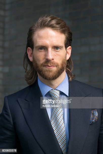 Model and Actor Craig McGinlay wears Chester Barrie Blazer shirt tie and pocket square on day 3 of London Collections Men on June 11 2017 in Paris...