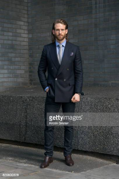 Model and Actor Craig McGinlay wears Massimo Dutti jeans Scalpers shoes Chester Barrie Blazer shirt tie and pocket square on day 3 of London...