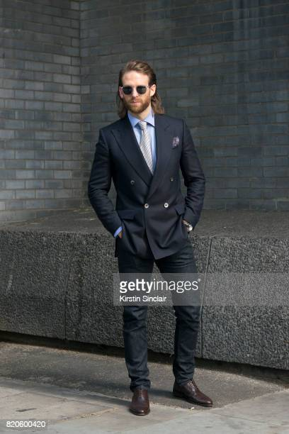 Model and Actor Craig McGinlay wears Massimo Dutti jeans Scalpers shoes Chester Barrie Blazer shirt tie and pocket square Finlay and Co sunglasses on...