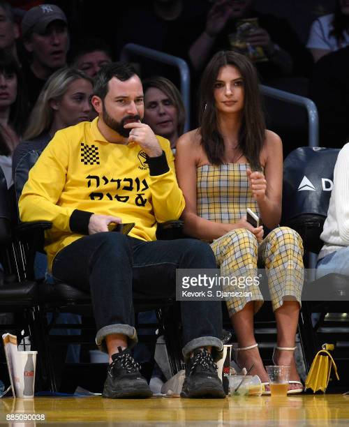 Model and actress Actress Emily Ratajkowski attends the Houston Rockets and Los Angeles Lakers basketball game at Staples Center December 3 2017 in...