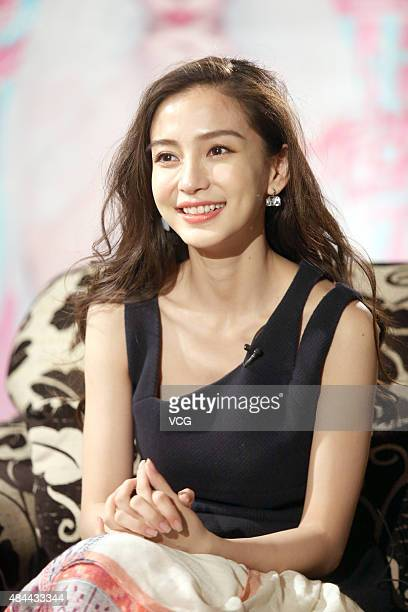 Model and actress Angelababy attends the program recording of 'Kevin Hour' hosted by Cao Kefan on August 18 2015 in Shanghai China