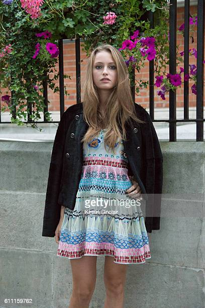Model and Actress Beatrice Vendramin wears all Temperley on day 3 of London Womens Fashion Week Spring/Summer 2017 on September 18 2016 in London...