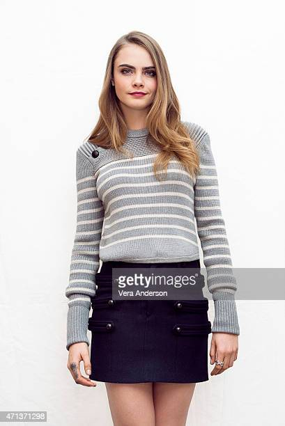 Model and actress Cara Delevingne poses for a portrait at the 'Paper Towns' Press Conference at the The London Hotel on April 24 2015 in West...