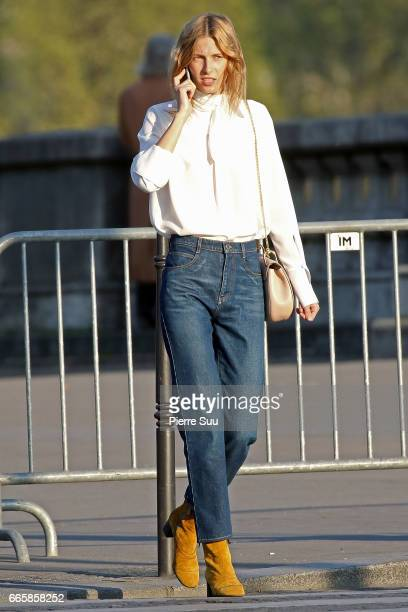 Model and Actress Dree Hemingway is seen modeling for a 'Chloe' photoshoot on the Alexandre III bridge on April 7 2017 in Paris France