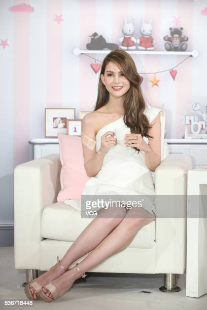 Model and actress Hannah Quinlivan attends a promotional event for tea brand on August 21 2017 in Taipei Taiwan of China