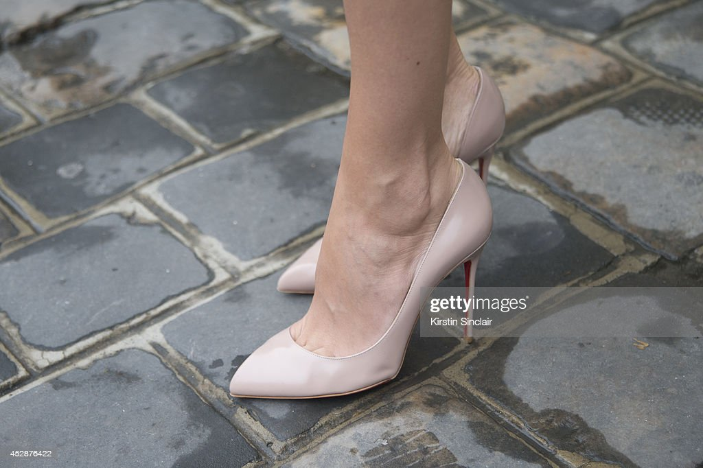 Model and Actress Isabelle Funaro wearing Christian Louboutin shoes day 5 of Paris Haute Couture Fashion Week Autumn/Winter 2014 on July 10 2014 in...