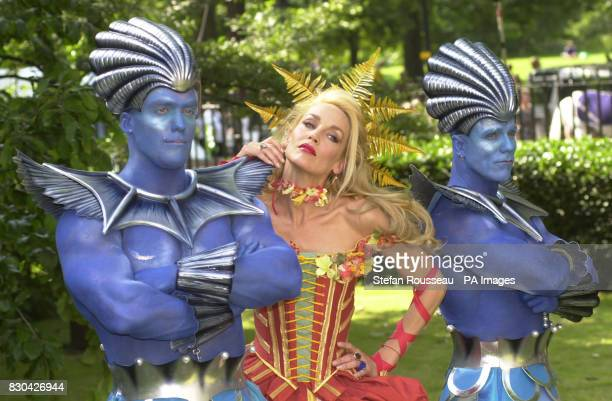 Model and actress Jerry Hall in the costume of Goddess Flora escorted by Mermen from the Costal Division of the National Trust are among stars in the...