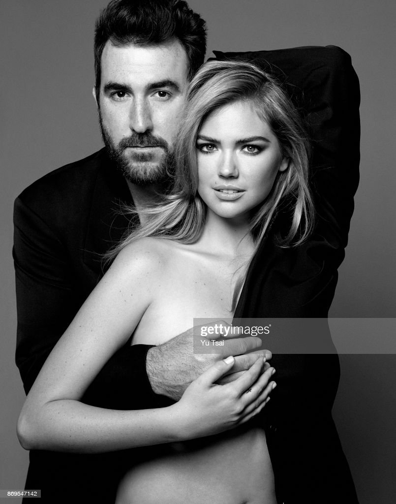 Model and actress Kate Upton and professional baseball Justin Verlander are photographed for Self Assignment on July 29, 2014 in Los Angeles, California.