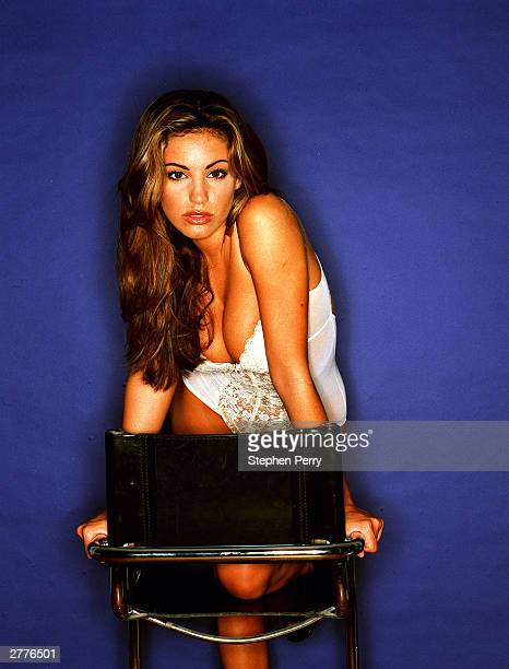 Model and actress Kelly Brook poses during a photoshoot held in 1998 in England