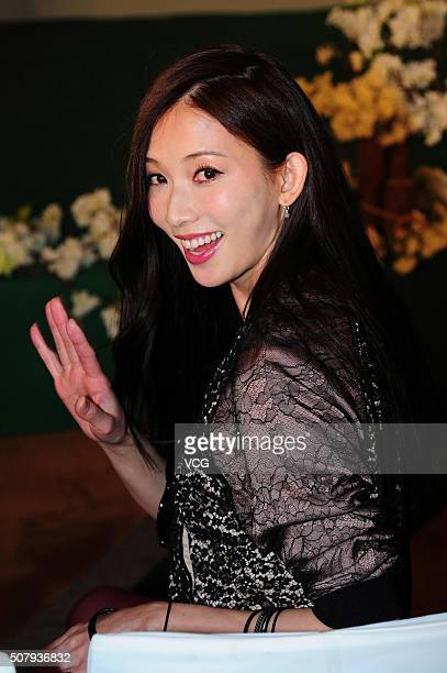 Model and actress Lin Chiling attends the press conference of TV program 'Sisters over Flowers' on February 1 2016 in Shanghai China