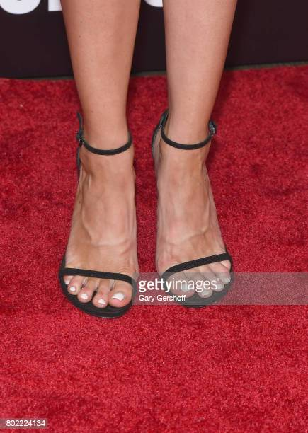 Model and actress Louisa Warwick shoe detail attends 'The Defiant Ones' New York premiere at Time Warner Center on June 27 2017 in New York City
