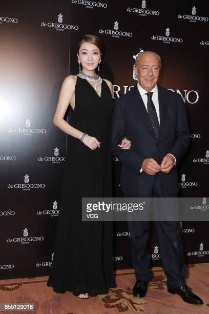 Model and actress Lynn Hung and Fawaz Gruosi attend the press conference of De Grisogono on September 28 2017 in Hong Kong China