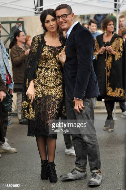 Model and actress Monica Bellucci and Stefano Gabbana are seen on the set of Dolce Gabbana new photography campaign on April 3 2012 in Taormina Italy