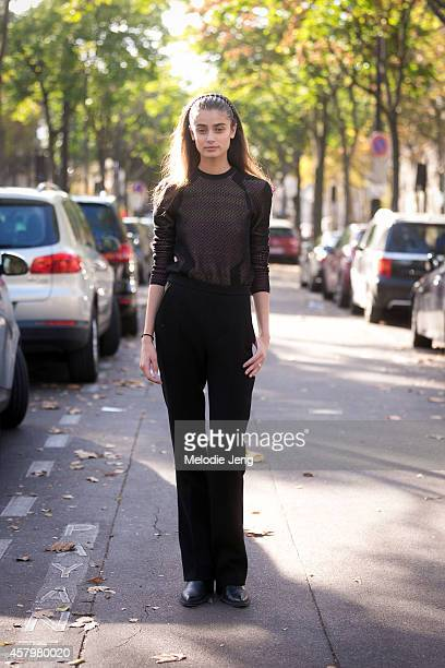 Model and actress Taylor Hill exits Barbara Bui at Palais de Tokyo on Day 3 of Paris Fashion Week Spring/Summer 2015 on September 24 2014 in Paris...