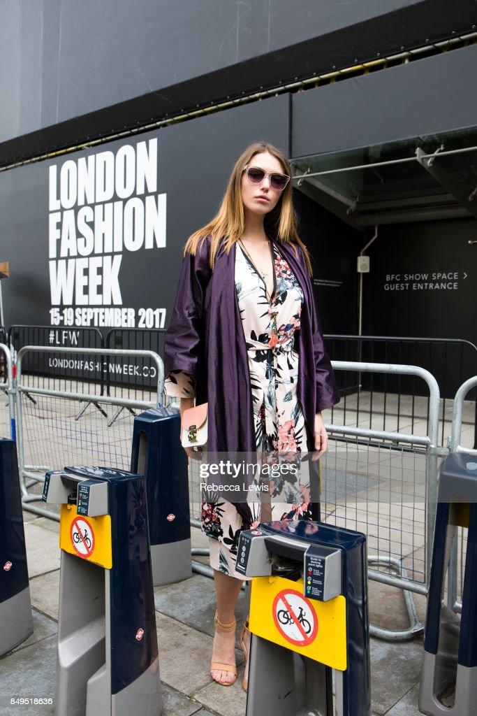 Model and blogger Landiana Cerciu wearing Bianca Poppo during London Fashion Week September 2017 on September 19, 2017 in London, England.