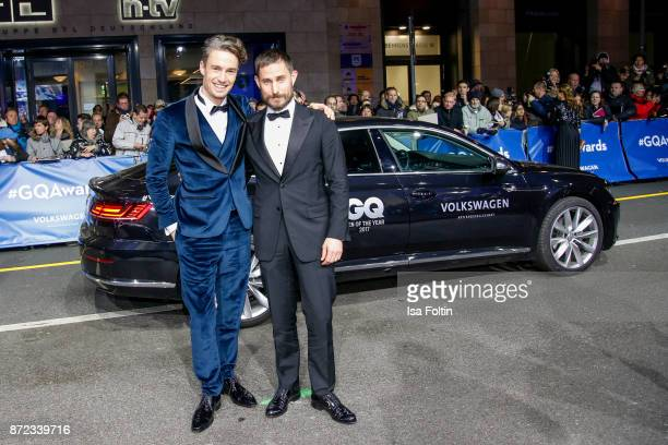 Model and blogger Simon Lohmeyer and German actor Clemens Schick arrive for the GQ Men of the year Award 2017 at Komische Oper on November 9 2017 in...