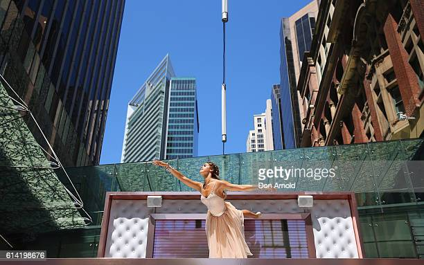 Model and dancer Mimi Elashiry launches Pandora Rose jewellery collection as she performs on top of the world's first lifesize jewellery box in Pitt...