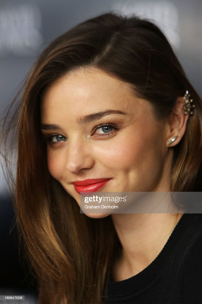Model and David Jones Ambassador <a gi-track='captionPersonalityLinkClicked' href=/galleries/search?phrase=Miranda+Kerr&family=editorial&specificpeople=5714330 ng-click='$event.stopPropagation()'>Miranda Kerr</a> poses during a public fashion workshop at David Jones Burke Street on February 8, 2013 in Melbourne, Australia.