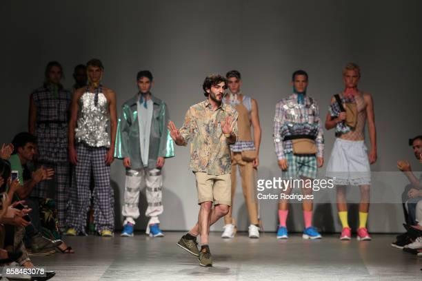 Model and designer Filipe Augusto runs the catwalk for designer Filipe Augusto during Sangue Novo contest runway show on October 6 2017 in Lisboa CDP...