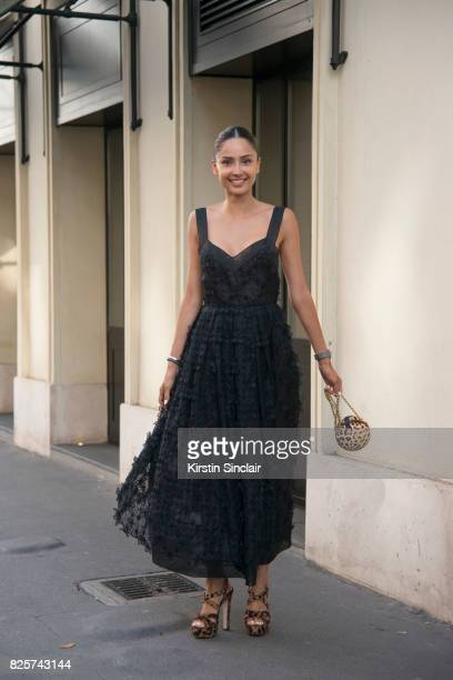 Model and Digital Influencer Patricia Contreras wears a Mario Dice dress Miu Miu shoes and a Roberto Cavalli bag day 1 of Paris Haute Couture Fashion...