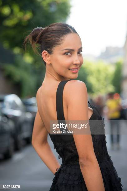 Model and Digital Influencer Patricia Contreras wears a Mario Dice dress day 1 of Paris Haute Couture Fashion Week Autumn/Winter 2017 on July 2 2017...