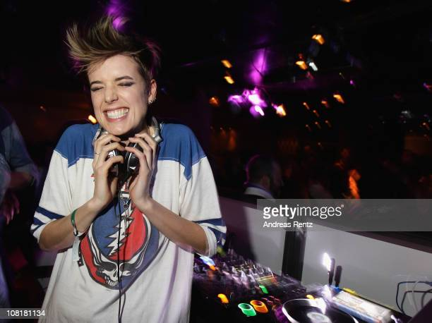Model and DJ Agyness Deyn performs during the GStar aftershow party during the BreadButter Berlin tradeshow Autumn/Winter 2011 at Club Asphalt at...