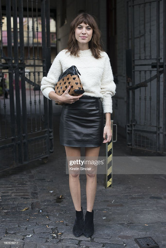 Model and DJ <a gi-track='captionPersonalityLinkClicked' href=/galleries/search?phrase=Alexa+Chung&family=editorial&specificpeople=3141821 ng-click='$event.stopPropagation()'>Alexa Chung</a> on day 4 of London Fashion Week Spring/Summer 2013, at Somerset House on September 16, 2013 in London, England.