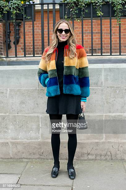 Model and DJ Harley VieraNewton wears Celine sunglasses and an Anya Hindmarch coat on day 3 during London Fashion Week Autumn/Winter 2016/17 on...