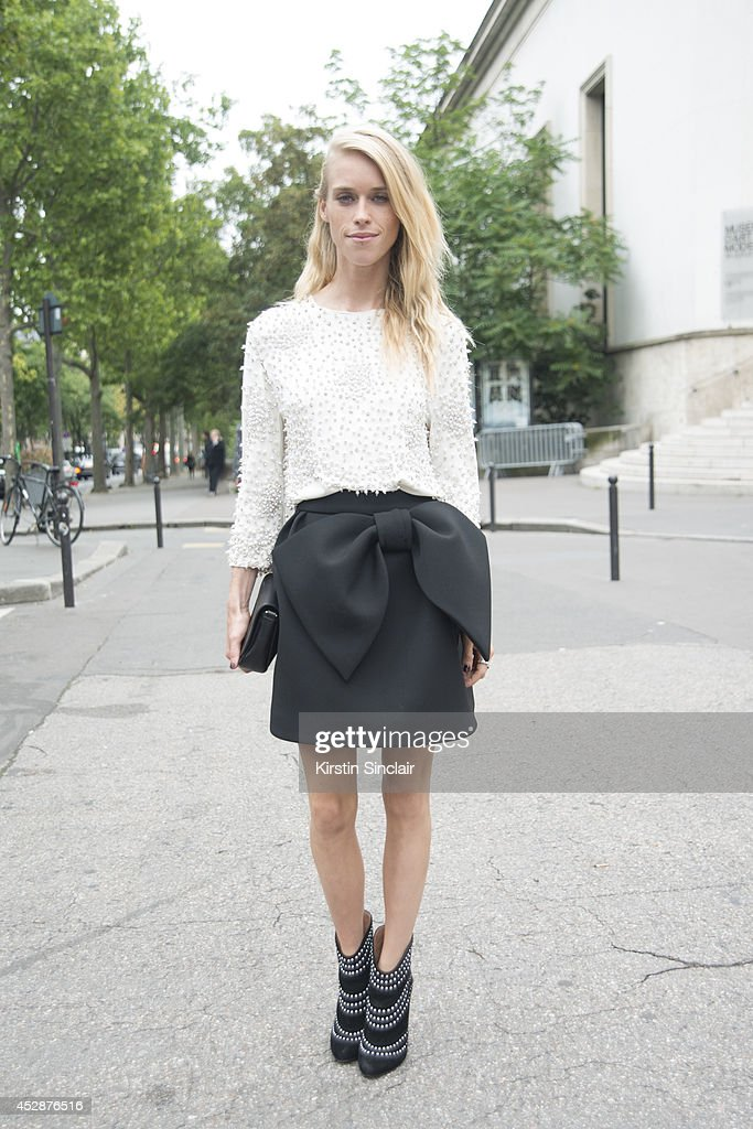 Model and DJ <a gi-track='captionPersonalityLinkClicked' href=/galleries/search?phrase=Mary+Charteris&family=editorial&specificpeople=4361110 ng-click='$event.stopPropagation()'>Mary Charteris</a> wearing a Dice Kayak skirt and top, Alaia shoes and Gucci bag day 5 of Paris Haute Couture Fashion Week Autumn/Winter 2014, on July 10, 2014 in Paris, France.