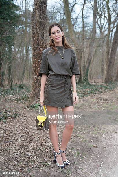 Model and fashion Blogger Gala Gonzalez wears an Isobel Marant dress with Louis Vuitton shoes and bag on day 9 of Paris Collections Women on March 11...