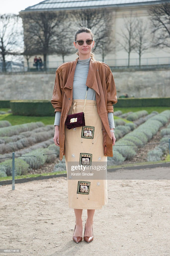Model and fashion stylist Clara Racz wears all vintage and Zara shoes and bag on day 5 of Paris Collections Women on March 07 2015 in Paris France